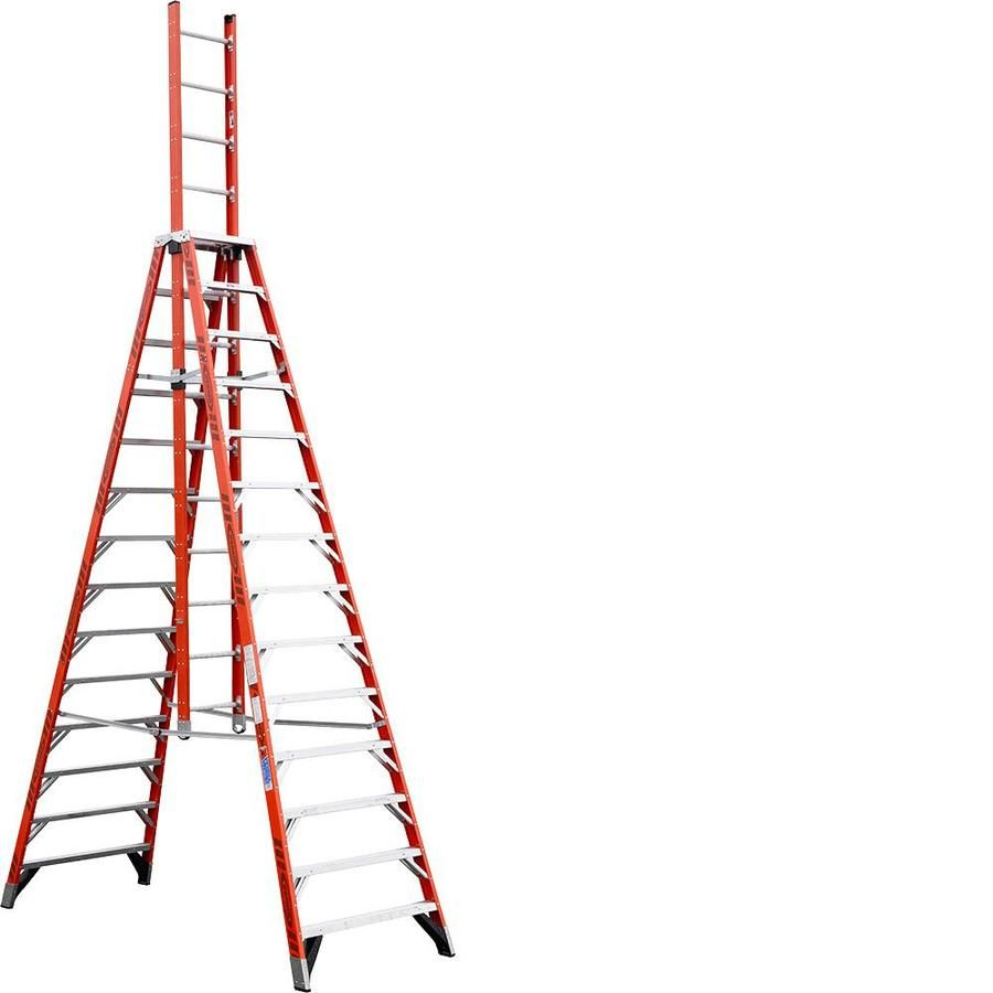Werner 14 Ft Fiberglass Type 1a 300 Lbs Capacity Trestle Step Ladder Merdivenler