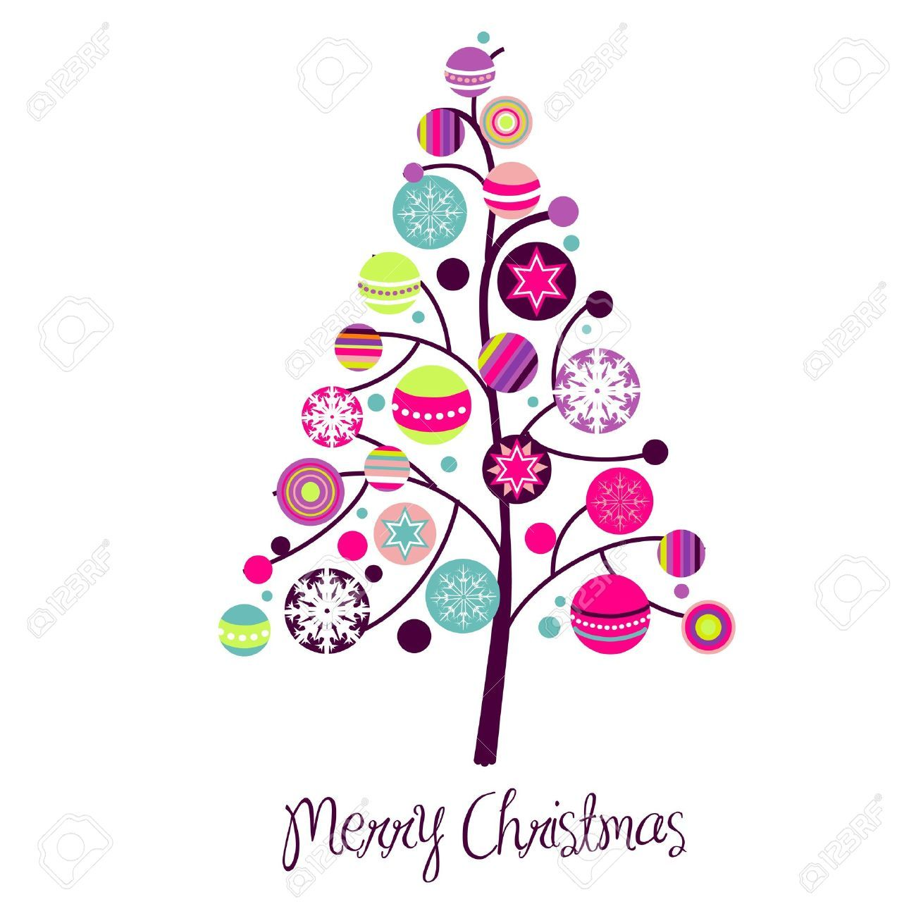 10456649 Abstract Christmas Tree With Cute And Colorful Design Elements Stock Vector Jp Whimsical Christmas Art Christmas Tree Art Contemporary Christmas Cards