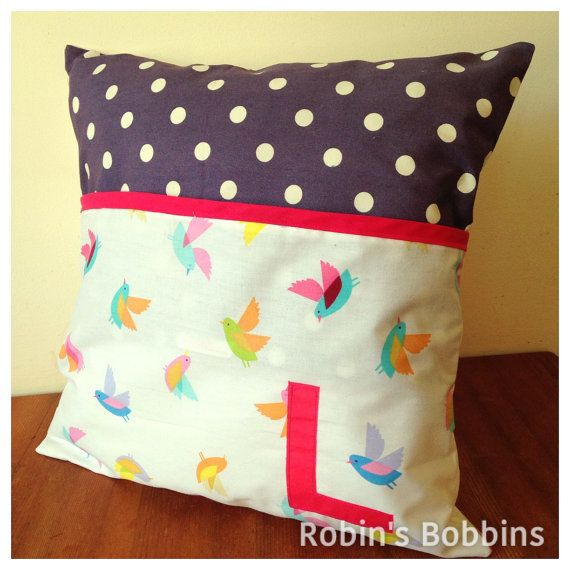 Book Cushion Cover Personalised Storage by RobinsBobbinsCrafts