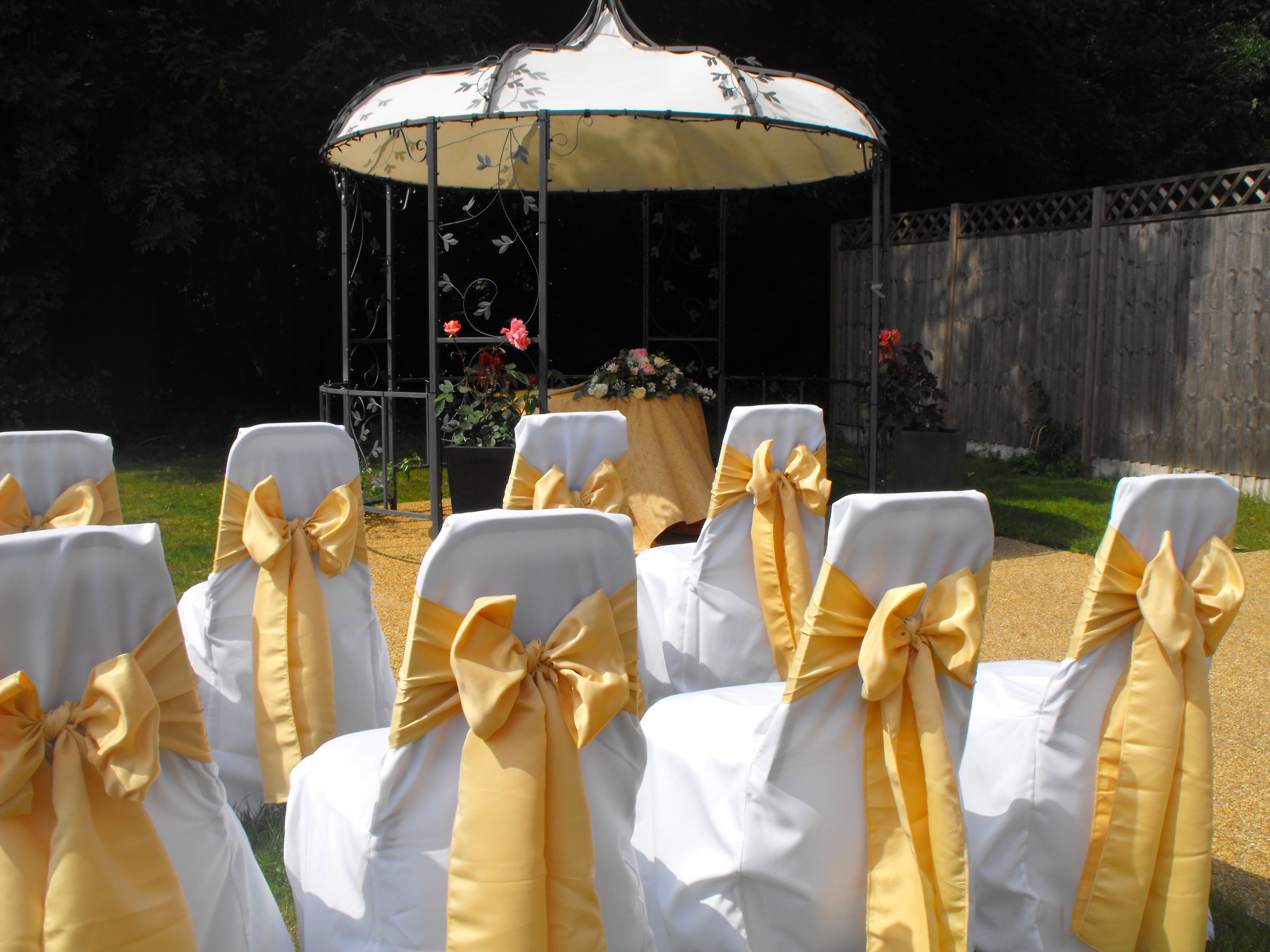 1e81edd4e729d5 Matt Gold Satin Bows on White Chair Covers