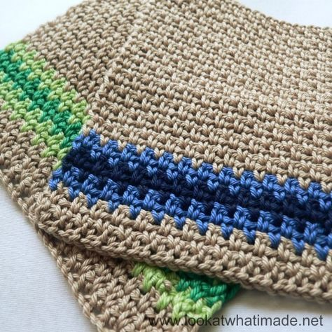 Linen stitch dishcloths - free crochet pattern | crochet and sewing ...