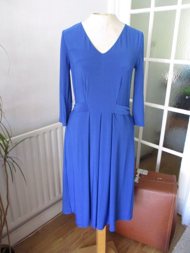 52dd04fd2c1 HOBBS ELECTRIC BRIGHT BLUE STRETCH V NECK FIT   FLARE BELTED DAY DRESS 10  VGC