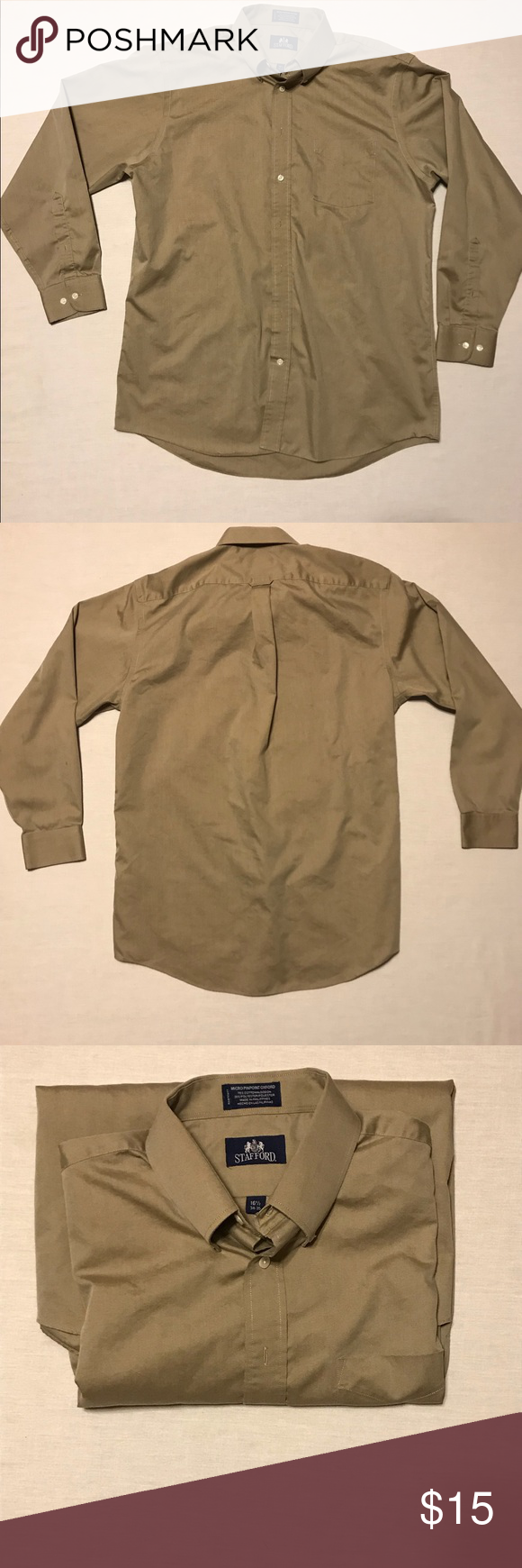 Stafford Long Sleeve Dress Shirt Size 165 3435 Up For Sale Today