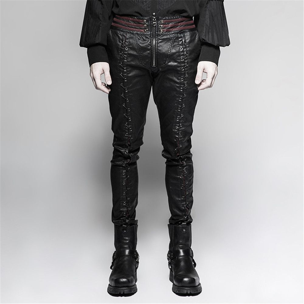 Steampunk men laceup leather pants gothic vampire bloody decoy