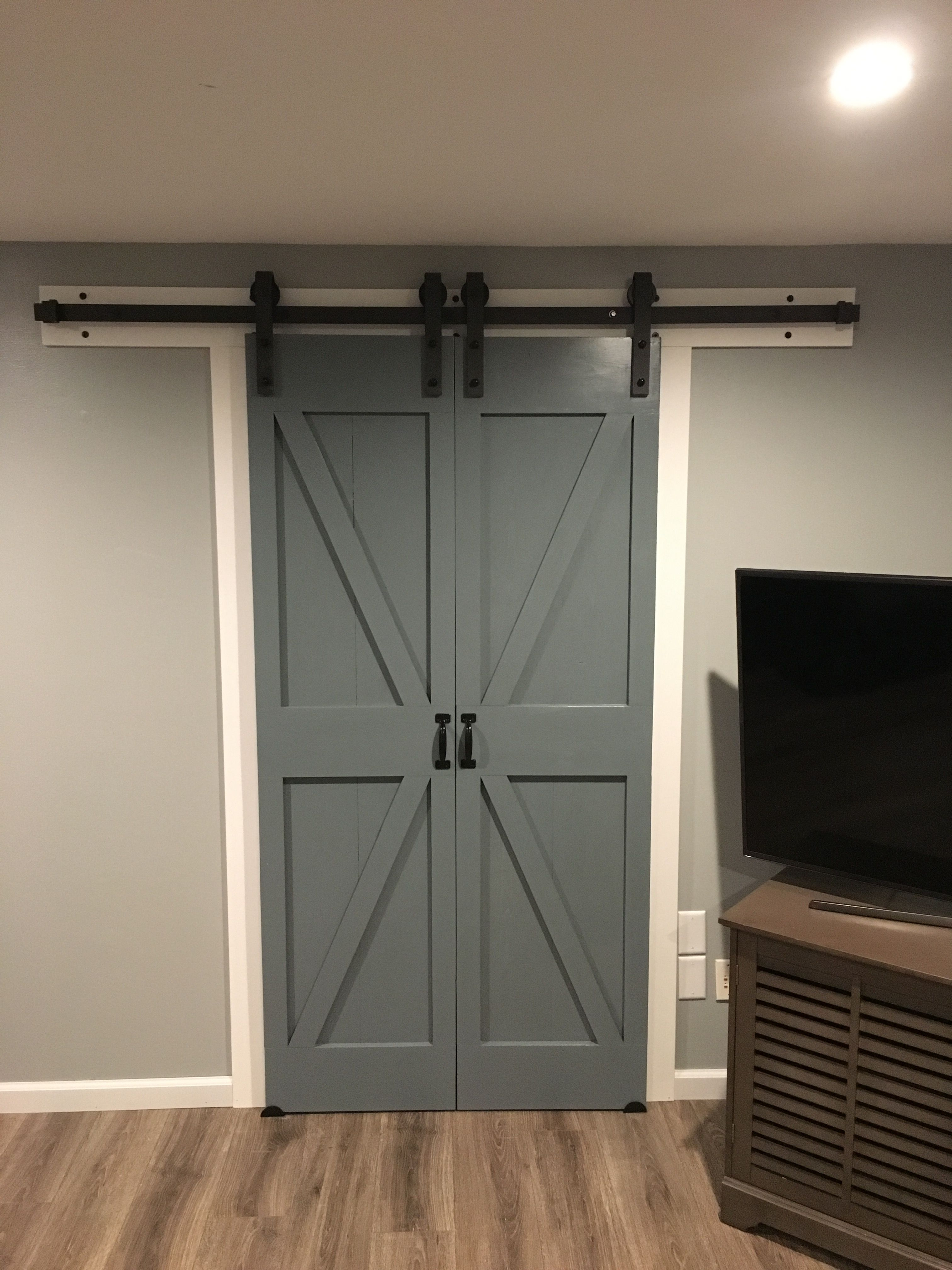 Double Barn Doors For A Closet In Our House Double Barn Doors Diy Barn Door Barn Door Closet