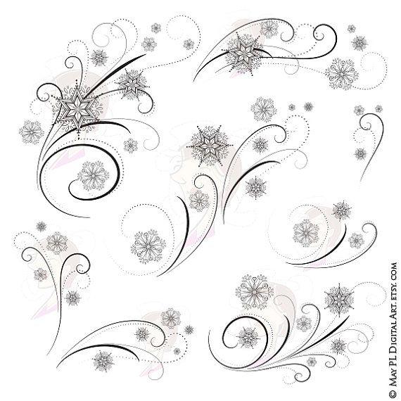 Snowflake elegant. Clipart flourish winter designs