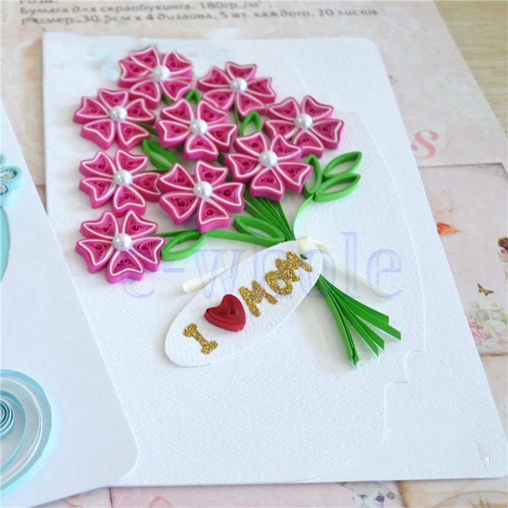 Quilling Paper Carnations Mother Greeting Cards Template Mould