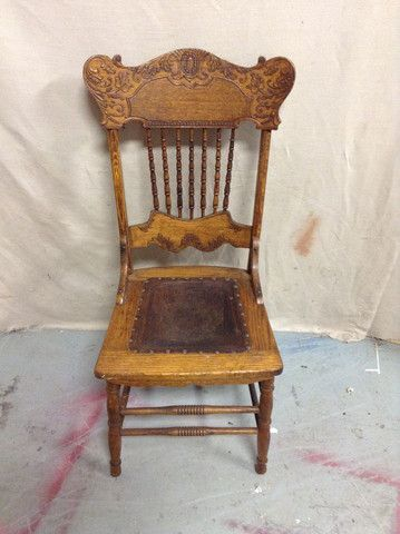 Greystone Fine Furniture   Antique Press Back Chair With Spindles And Leather  Seat $65