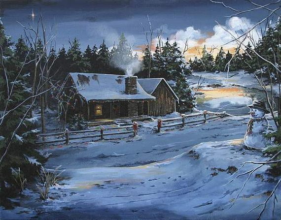 Note Cards Farmhouse Country Christmas Cabin By Brushedmemories 500
