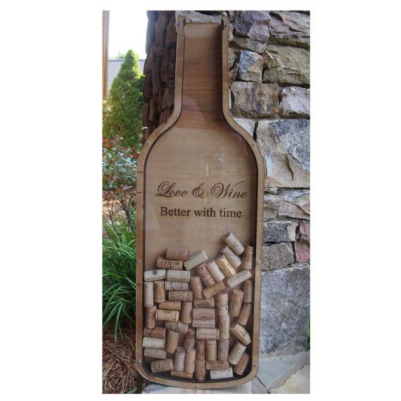 Wine Bottle Shaped Cork Holder Personalized Wine By Cossadesigns