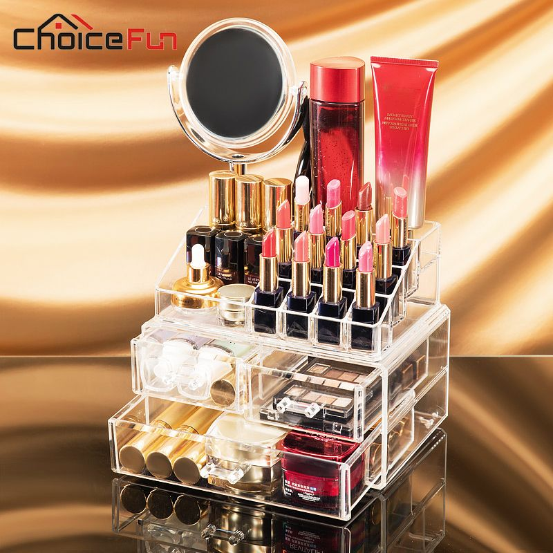 ==> [Free Shipping] Buy Best CHOICE FUN 2017 New Arrival Round Mirror Series Makeup Organizer Drawer Storage Box Multifunction Make Up Organizer SF-1542MS-3 Online with LOWEST Price | 32784654690