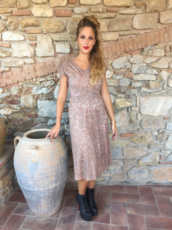 0b1e41476836 Vestito anni  50 in pizzo macrame   Vestito anni  50 elegante donna   Vestito  macramè anni  50   Abito elegante vintage   Vestito taglia M by ...