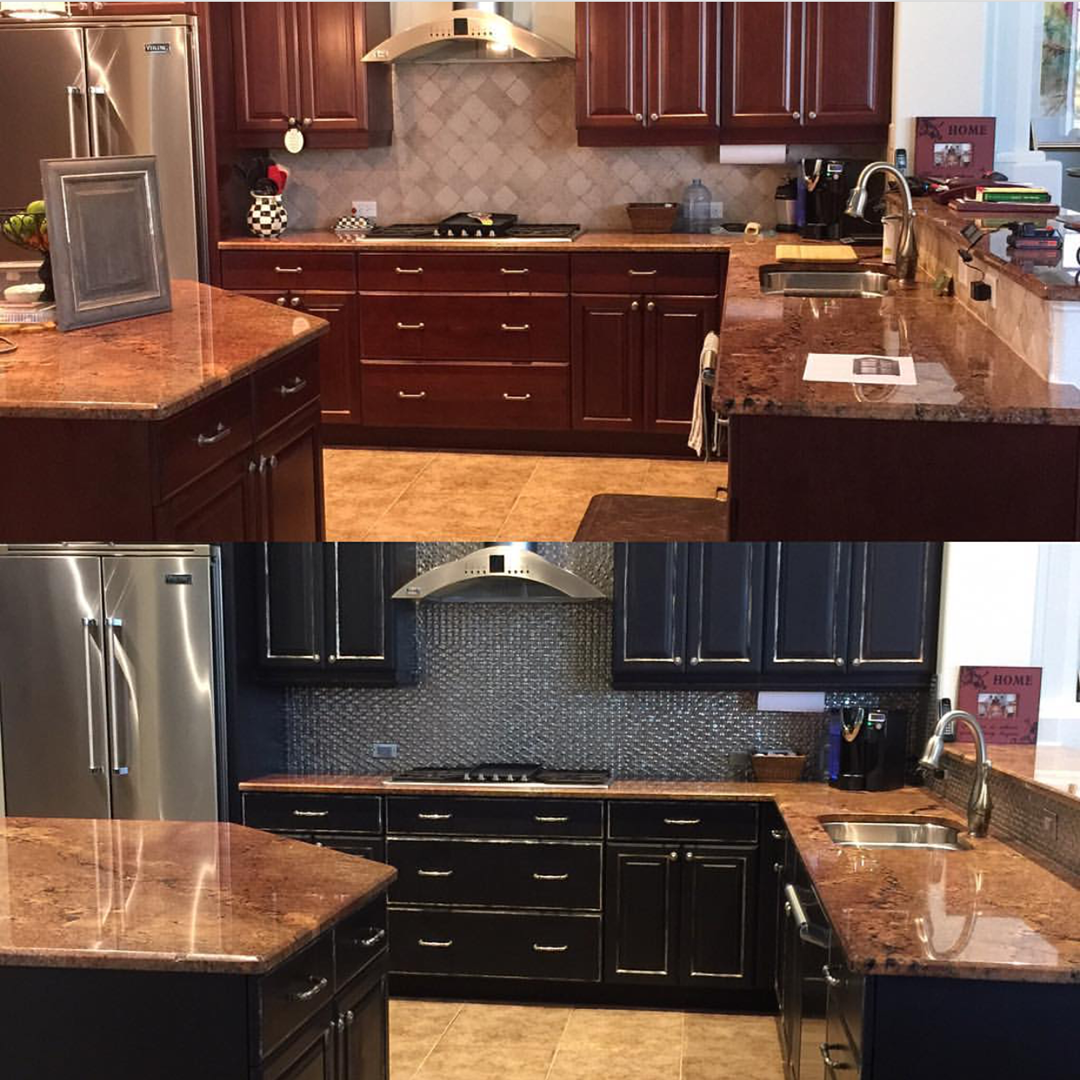 Regram Luizaracovita Everyone Loves A Before And After This Kitchen Went From Ordinary To Black Painted Furniture Black Kitchen Cabinets Painted Furniture