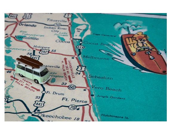 Map Of Melbourne Beach Florida.Sebastian Florida Retro Beach Map Surfer Photo Funky Vintage