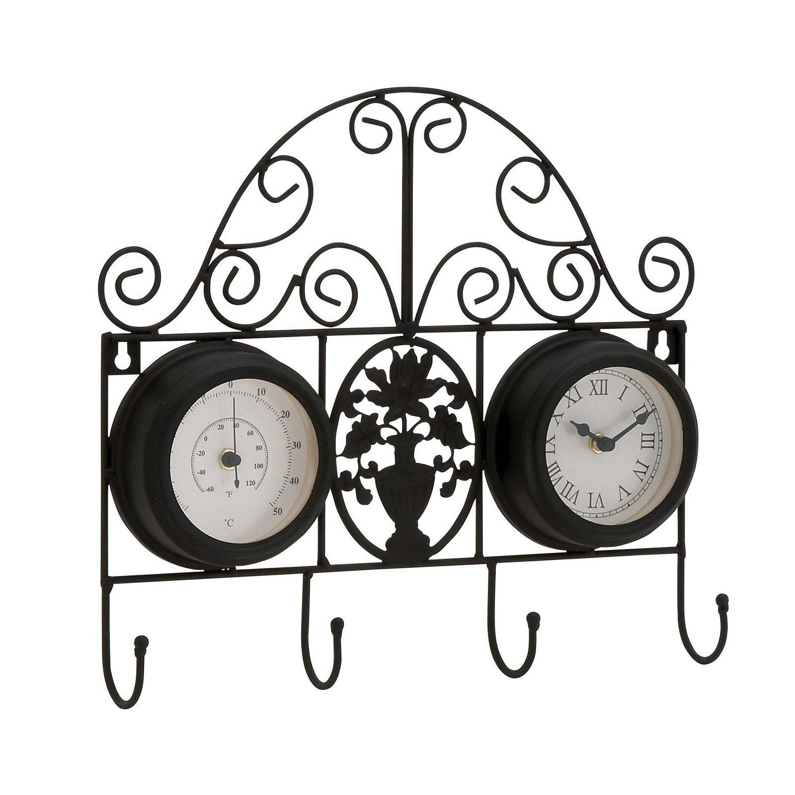 Decmode scrolled metal wall clock and thermometer with coat hooks