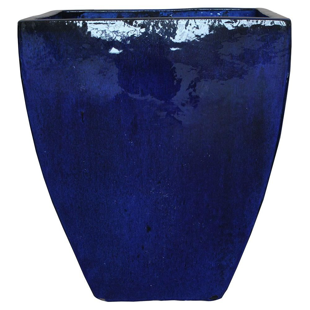 Trendspot 16 In Blue Ceramic Bayshore Square Pot Cr20026 20d The Home Depot Ceramic Planters Blue Ceramics Ceramic Succulent Planter