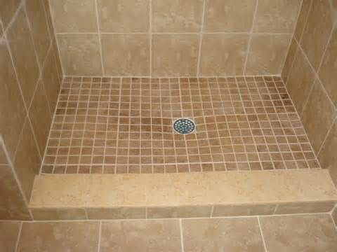 Porcelain Shower Pan Tile With Custom Travertine Marble Curb