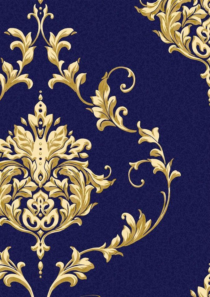 Dark blue and gold metallic damask wallpaper google for Dark blue and gold wallpaper