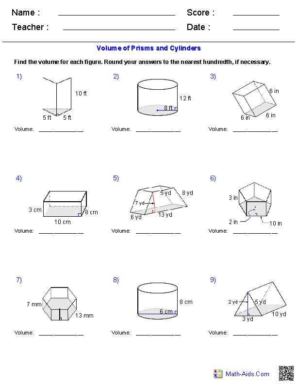Prisms And Cylinders Volume Worksheets Math Aids Pinterest