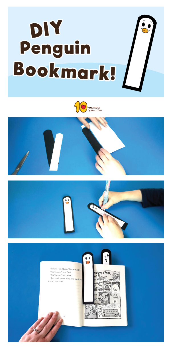 diy penguin bookmark  easy animal bookmarks for kids
