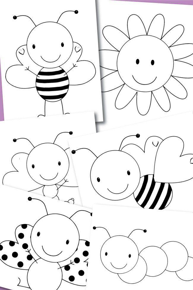 Free Coloring Pages Spring Buggies Api Primavera Tema