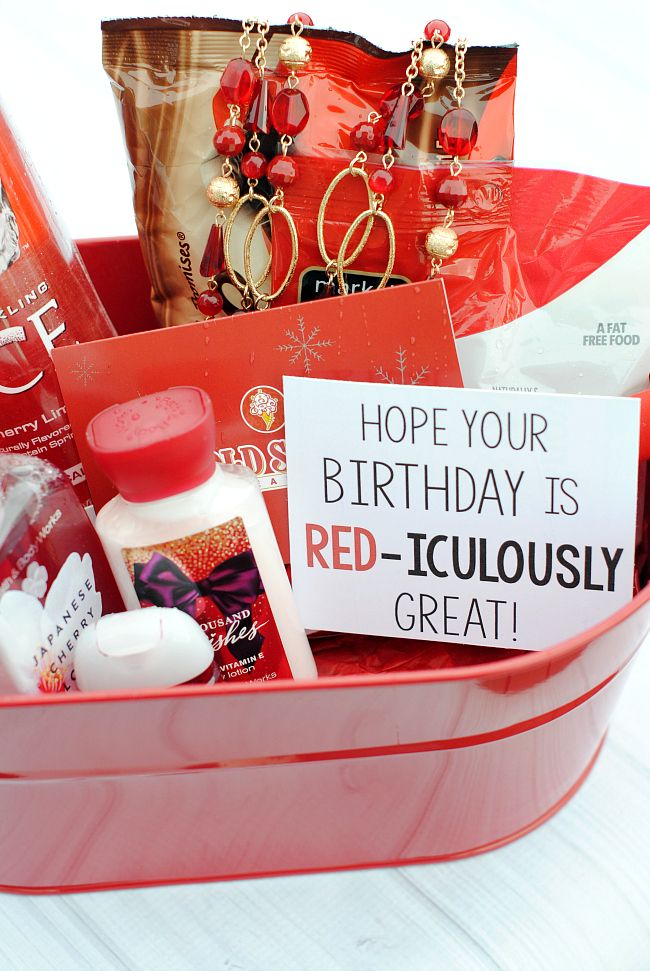 Red Iculously Great Gift Idea Cute Gifts For Friends Friend Birthday Gifts Birthday Basket