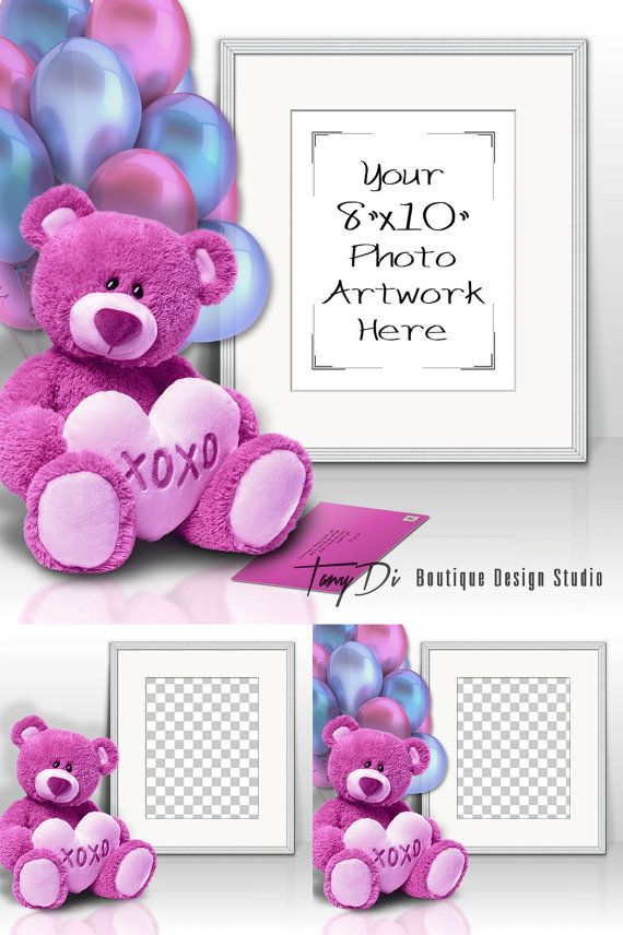 8x10 Portrait White Frame, Romantic Teddy Bear on Table, Balloons ...