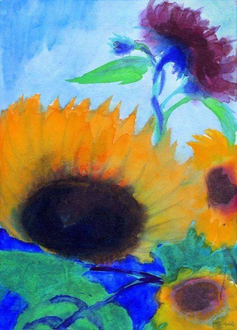 emil nolde german expressionism 1867 1956 sunflowers sonnenblumen 1930 watercolor on. Black Bedroom Furniture Sets. Home Design Ideas