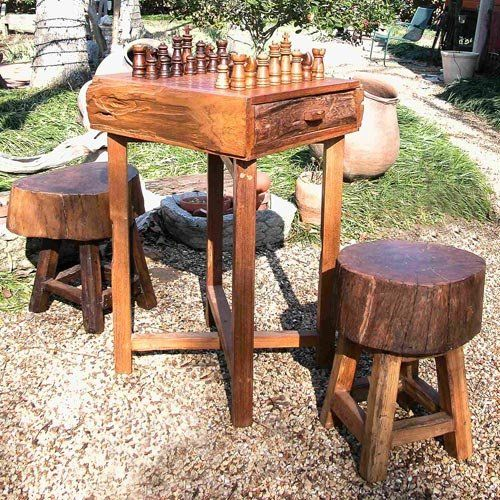 Rustic Cabin Decor Chess Table Hill Country Chess Table Set With Stools Chess Tables At Hayneedle Chess Table Game Room Decor Table