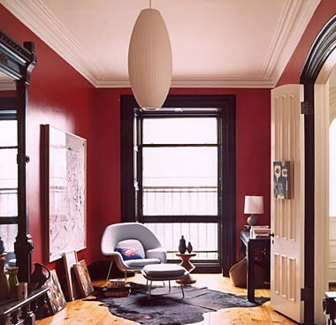 Red Paint With Dark Trim Interior Design Living Room Red Interior