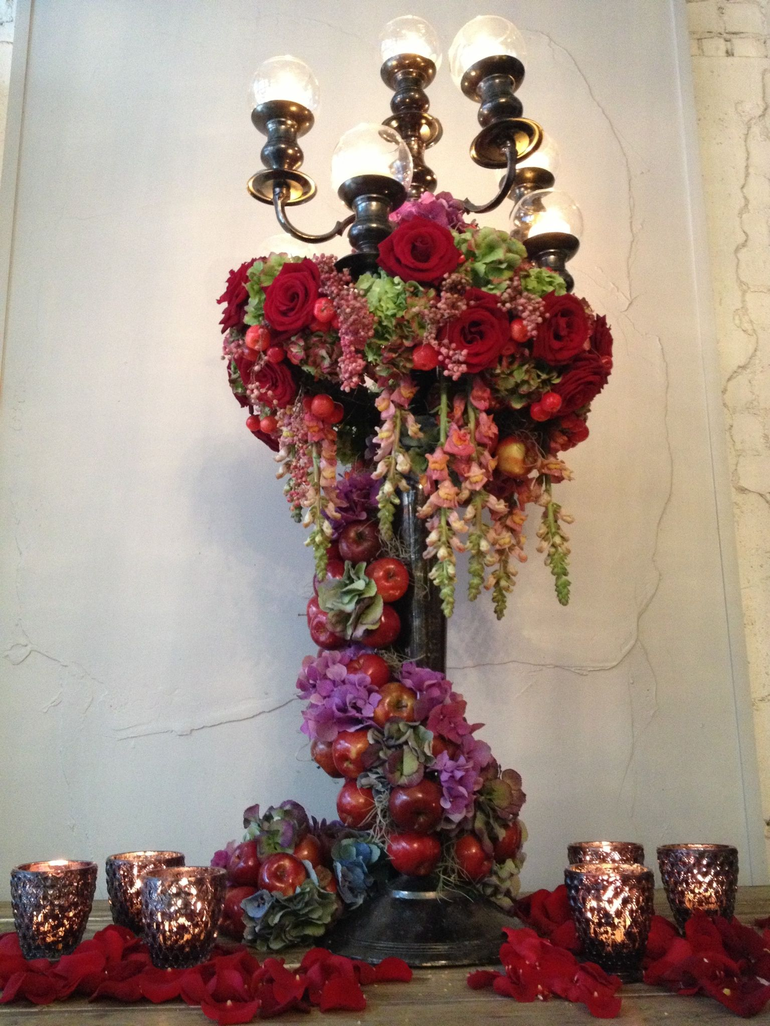 Red rose and apple candelabra, Jamie Aston Flowers http