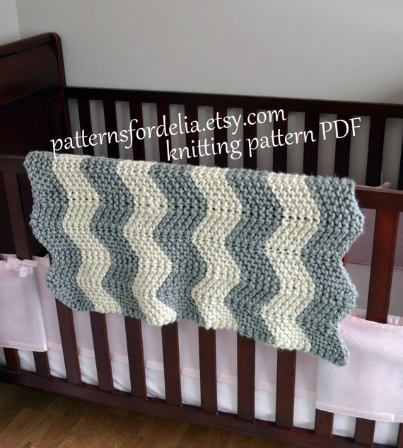 Knitting Pattern Crib Blanket : Chunky Chevron Baby Blanket KNITTING PATTERN easy beginner zig zag crib blank...