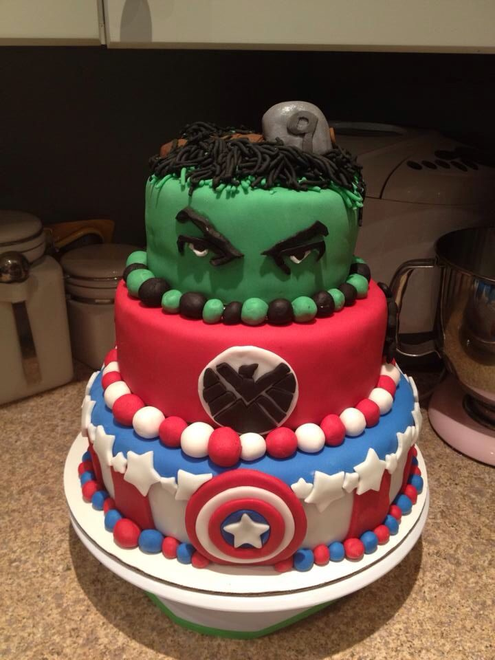 My avengers cake Hulk top with a Thor hammer on his head with the