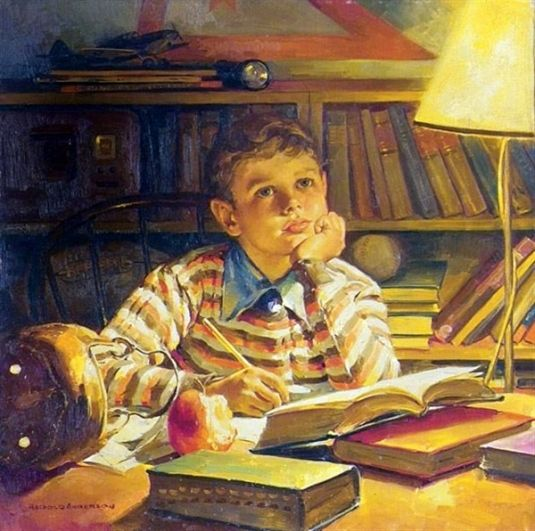 Harold N. Anderson (1894 – 1973,American). Young Boy Taking a Break from Studying.