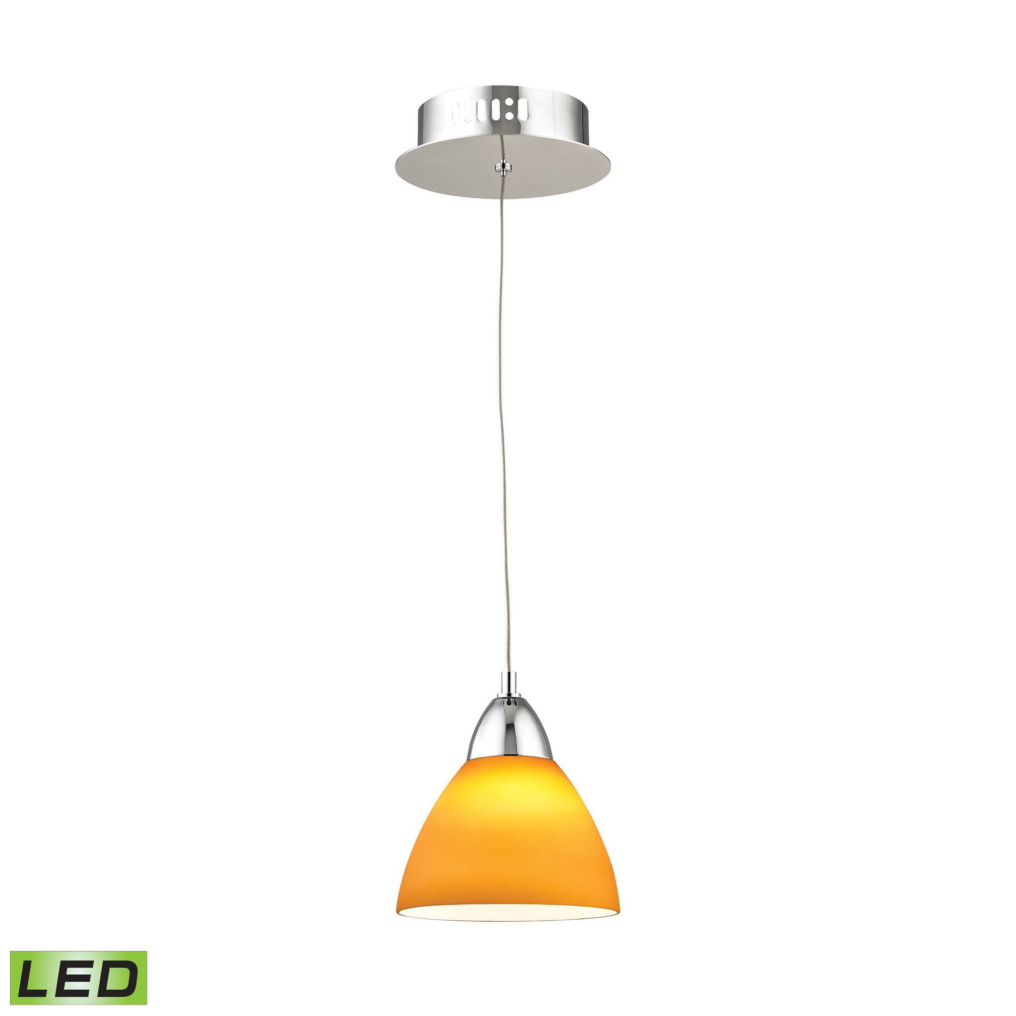 Piatto light led pendant in chrome with yellow glass products