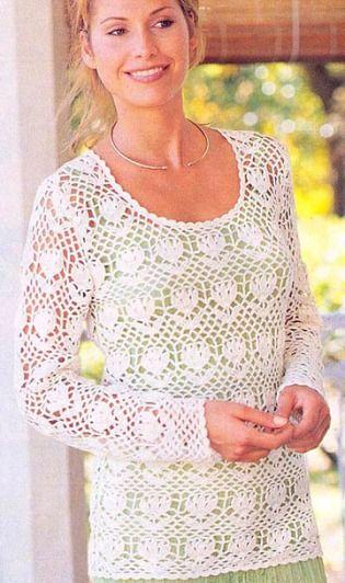 White Long Sleeve Top free crochet graph pattern | Free patterns ...
