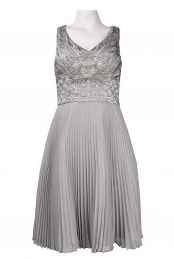 Sue Wong N4136 Platinum Pleated Cocktail Dress