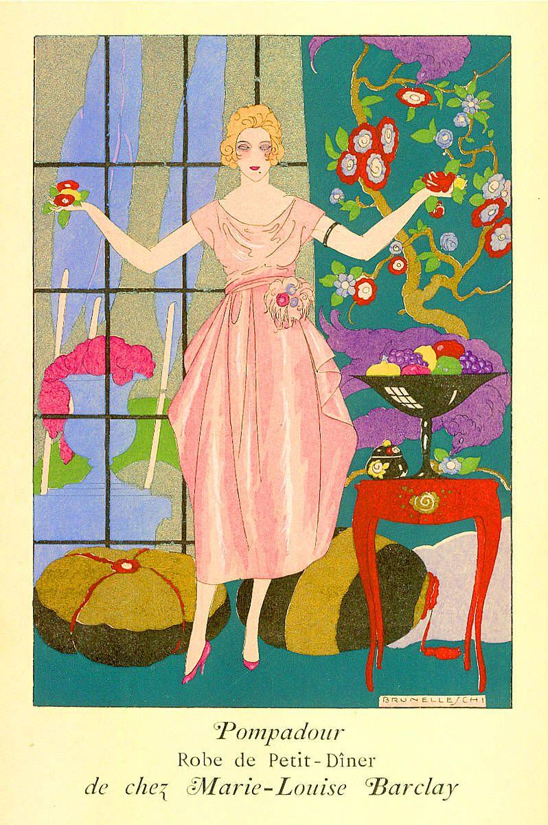 Pompadour Robe de Petit-Dîner de chez Marie-Louise Barclay - BRUNELLESCHI, Umberto (Italian, 1879-1949)