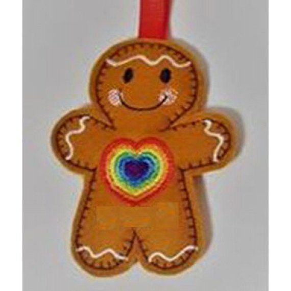 rainbow Rainbow heart felt gingerbread decoration pride