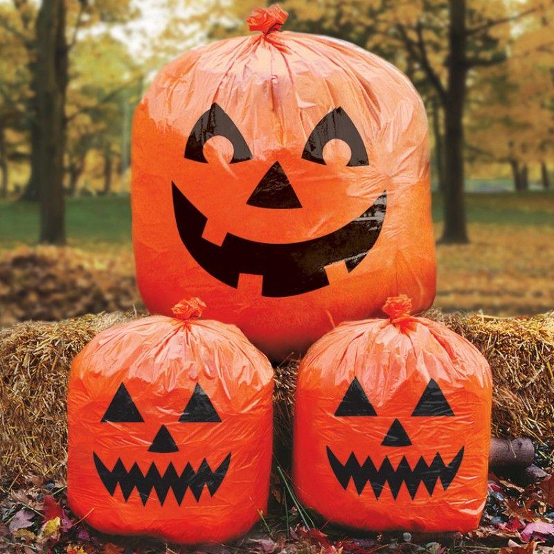 Pumpkin Lawn Bags - Halloween Scene Setters - Halloween Decorations - decorate halloween bags