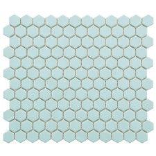 "Retro 7/8"" x 7/8"" Porcelain Glazed Mosaic in Matte Light Blue (Set of 10)"