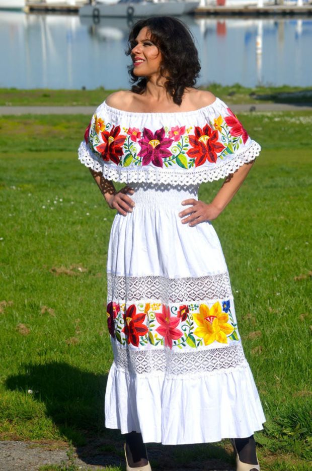 9697bef8a3b Multicolor Embroidered Off Shoulders Mexican Dress White