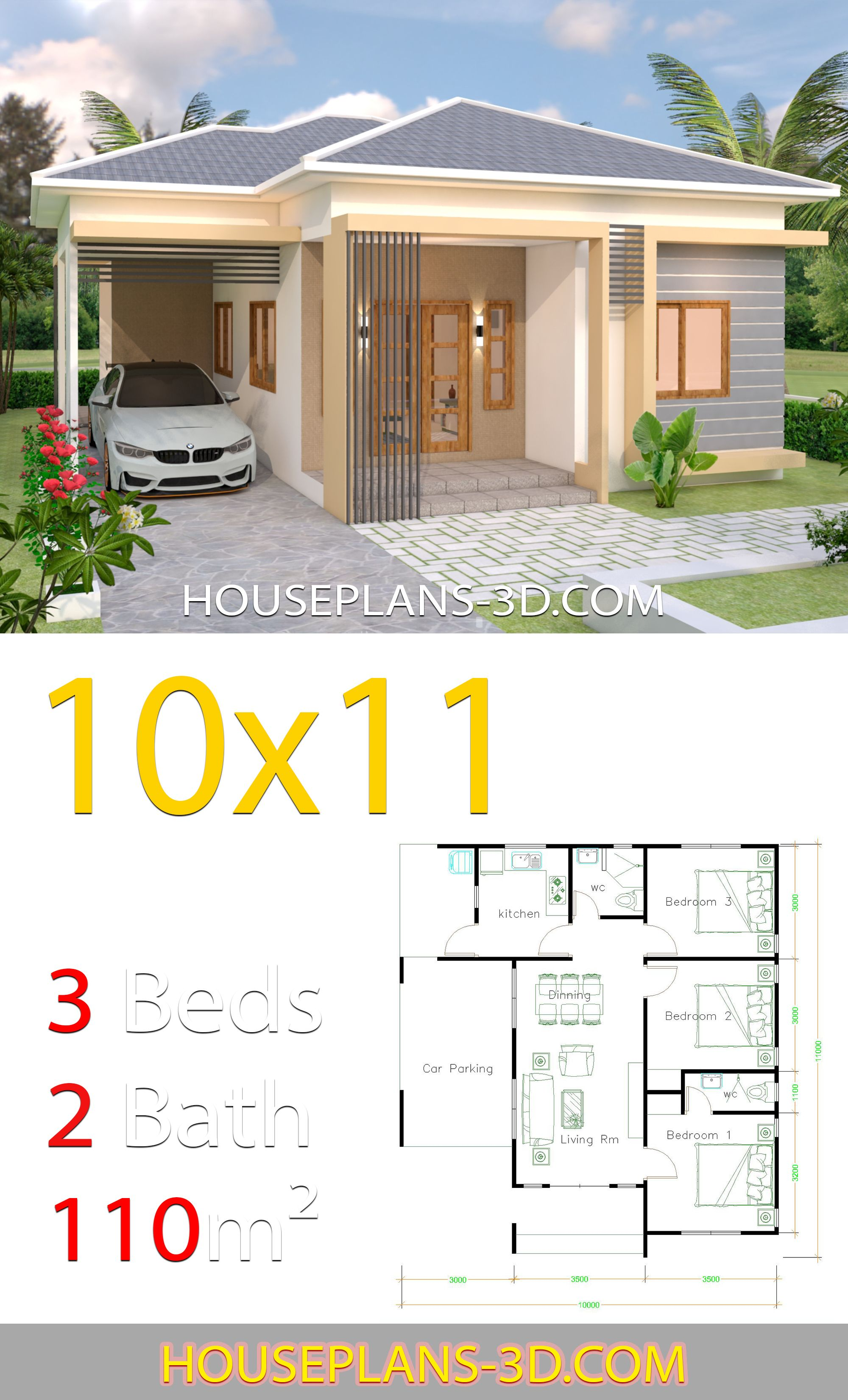 House Design 10x11 With 3 Bedrooms Hip Tiles House Plans 3d In 2020 Diy House Plans Affordable House Plans House Plans