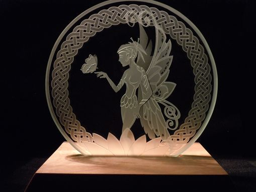 Custom Made Fairy With Butterfly - Celtic Knotwork Etched Glass Decorative Art Tabletop Display
