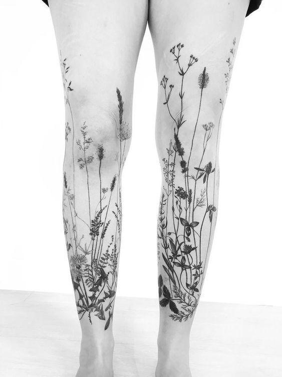 Photo of Gras Tattoo Ärmel an beiden Beinen für Frauen (von vorne  Tattooideen #besttattooideas – diy best tattoo ideas