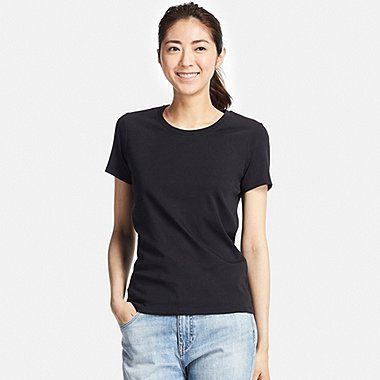 WOMEN Supima® COTTON CREWNECK SHORT-SLEEVE T-SHIRT, BLACK | Le Tee ...