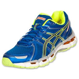 Men S Asics Gel Kayano 19 Running Shoes Blue White Neon Yellow