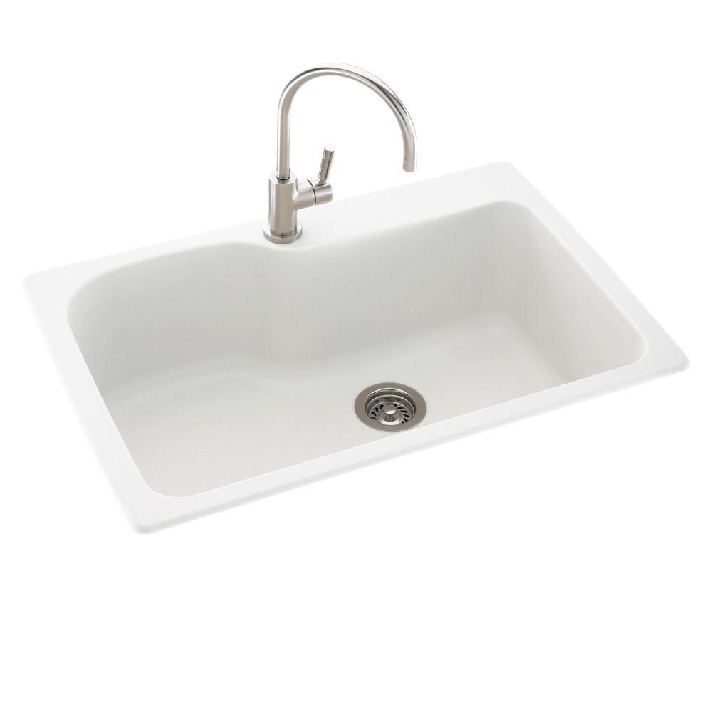 Swan Drop In Undermount Solid Surface 33 In 1 Hole Single Bowl