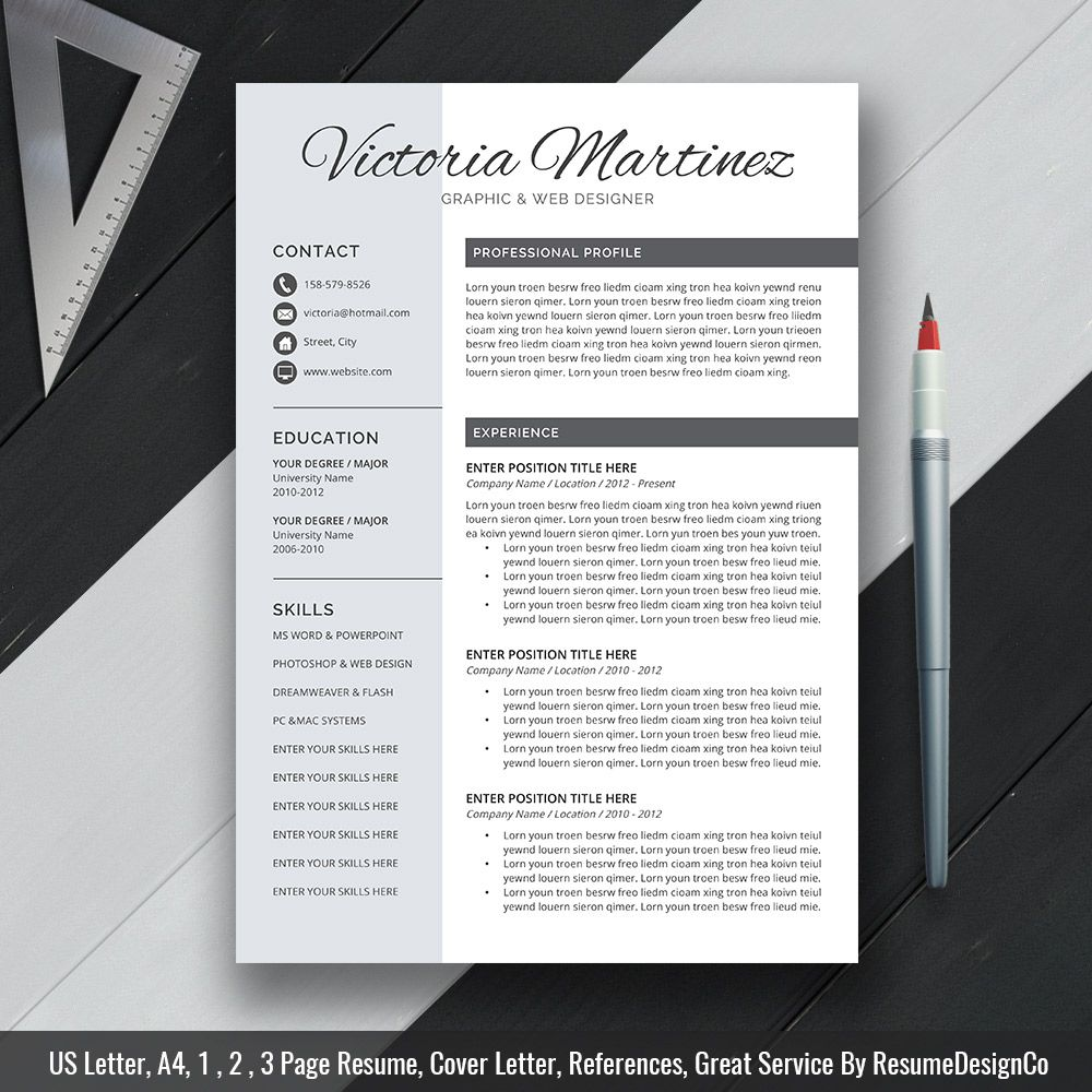 2019 creative resume template word  simple cv template  cv