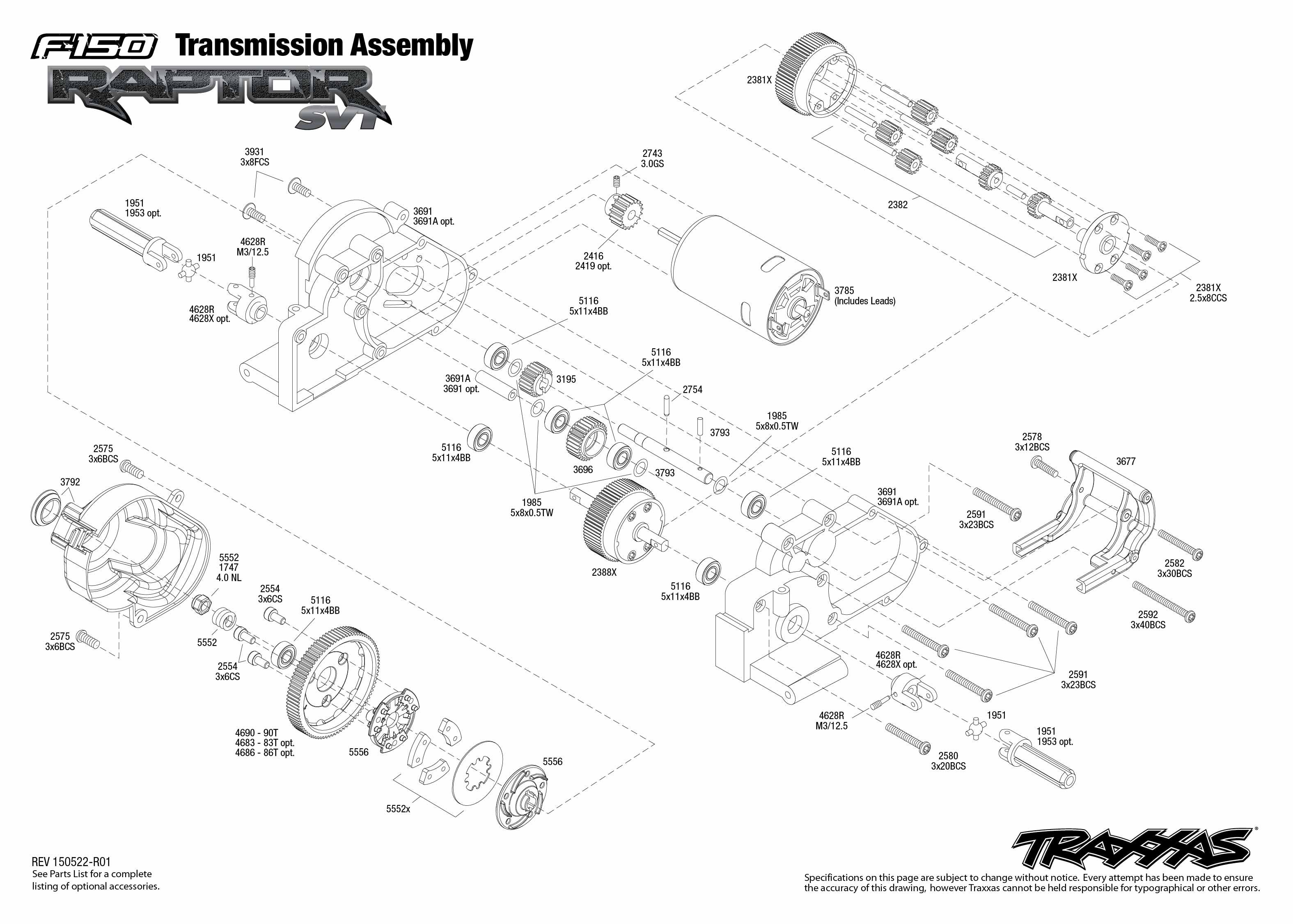 1998 ford contour svt radio wiring diagram motorcycle alarm system raptor 58064 1 transmission assembly traxxas